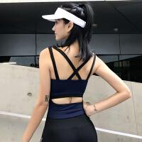带胸垫运动背心女跑步防震聚拢美背弹力速干健身上衣瑜伽服