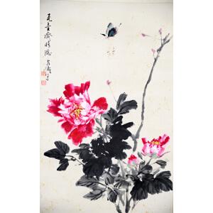 S王雪涛 蝶恋花 纸本镜片 69*44