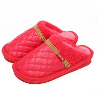 新园秋冬季男女棉拖鞋 情侣保暖棉鞋 家居防水棉拖鞋 半包跟棉拖鞋1603 女款红色