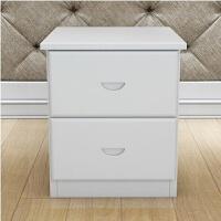 简约现代 床头柜 实木床头柜 两抽斗柜 实木家具 柜子 组装