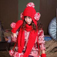 保暖套装学生红色女士可爱球球毛线帽子围巾手套三件套