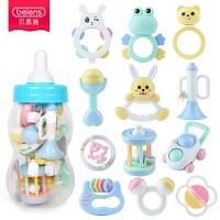 奶瓶装新生儿手摇铃婴儿玩具摇铃1岁9女孩男宝宝牙胶0-3-6-12个月