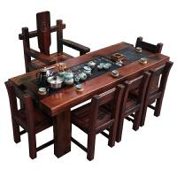 老船木茶桌阳台茶几客厅功夫小茶台中式实木办公泡茶桌椅组合 单张220*80*70cm茶桌 整装