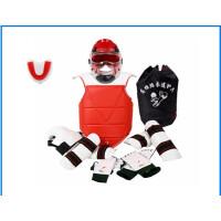 跆拳道护具全套八件套 跆拳道护具全套儿童八件套比赛加厚实战训练道馆五件套装 CX 席纹加厚八件套2号(110-130)