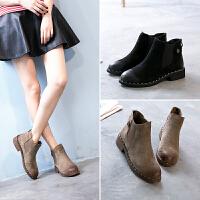 西瑞高帮套筒短靴时尚英伦单靴女真皮内增高女靴子秋冬款切尔西靴MN5131
