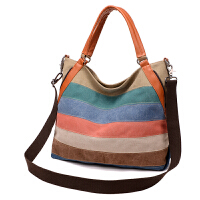 包包2018新款帆布包女包斜挎包单肩拼接大包欧美女式大容量手提包 彩虹色