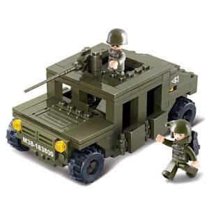 【当当自营】小鲁班陆军部队2军事系列儿童益智拼装积木玩具 悍马巡逻车M38-B0297