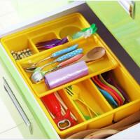 炫彩易分类双层抽屉收纳盒厨房餐具收纳盒双层抽屉塑料分隔整理盒 办公文具储物盒--收纳盒黄色