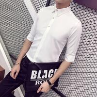 夏季修身男士短袖衬衣商务衬衫潮薄款韩版白发型师男装七分袖衬衫