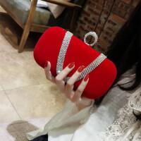 丝绒水钻指环包女小手拿包晚宴包链条斜跨宴会包名媛女包