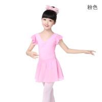 儿童舞蹈服装女双V领短纱袖连体练功服套装芭蕾舞服体操服纯棉