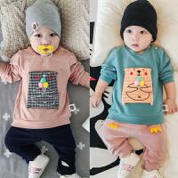 婴儿上衣春秋长袖T恤卡通贴补套头衫新生儿宝宝A类衣服秋装柔软潮