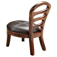 实木家具 乌金木茶几凳 功夫茶几椅 真皮实木椅靠背换鞋凳 乌金木原木色