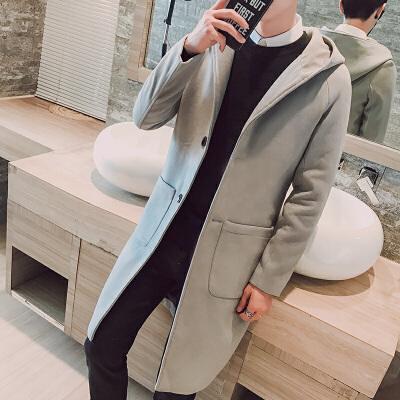 秋冬新款男士修身呢风衣中长款外套毛呢大衣连帽