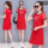 夏季休闲运动连衣裙2018新款大码女装宽松上衣中长款短袖T恤裙子 红色 M