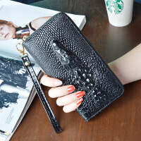 欧美2018新款鳄鱼纹女士钱包长款拉链多功能皮夹手机女式手拿钱夹