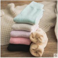 冬季袜子女加厚中筒袜韩版学院风冬季加绒毛巾长袜纯棉袜月子羊毛