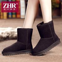 ZHR冬季新款真皮加厚雪地靴加绒中筒靴韩版学生女靴子平底棉鞋P08