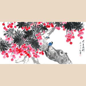 纯手绘四尺花鸟 孔蕾《大吉大利》客厅中堂玄关装饰画