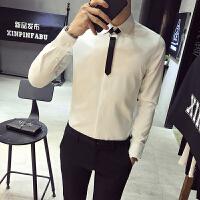 休闲商务长袖衬衫英伦修身韩版纯色衬衣男发型师工装寸衣