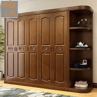 实木衣柜现代简约中式侧边柜3456门橡木衣柜卧室经济型整体大衣柜定制