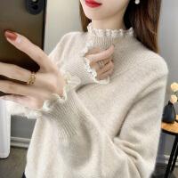 外穿女士毛衣2020年秋冬新款半高�I蕾�z拼接��打底衫女�却钛��