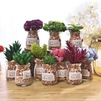仿真多肉植物小盆景假花盆栽创意家居摆设店铺室内绿植装饰品摆件