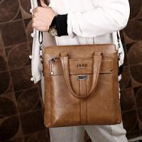 2018新款男包 手提包男 单肩包斜挎包商务背包皮包男士包包公文包 卡其色 竖款+手包