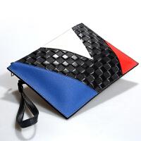 女包包2018新款 时尚女士手拿包女款手抓包手包牛皮信封方块撞色 撞色蓝色手拿包(少量