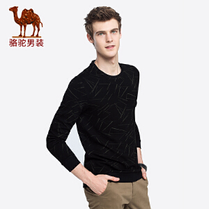 骆驼男装 2018秋季新款青年时尚长袖圆领套头提花日常休闲卫衣男
