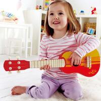 Hape吉他 红色 3-6岁椴木材质玩具培养乐感四弦早教益智玩具婴幼玩具音乐玩具