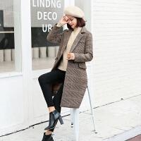 格子外套女中长款秋冬季流行厚千鸟格大衣