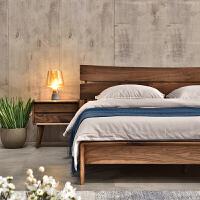 北欧家具黑胡桃木全实木床现代简约中式双人床1.5米1.8米 北美进口全黑胡桃木