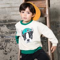 男童卫衣春秋韩版儿童卡通拼色套头上衣2018新款中小童春装打底衫