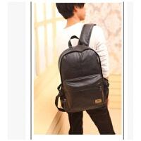 男包双肩包日韩版时尚潮流学生旅行校园书包PU皮质休闲女电脑背包