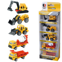 滑行合金玩具车5只装工程挖掘机消防警察军事模型车儿童益智礼物