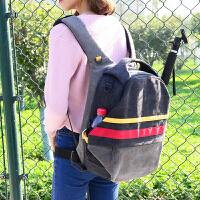 双肩相机包单反佳能旅行背包帆布多功能大容量防盗轻便双肩摄影包 2018灰色彩条款
