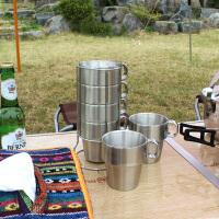 户外水杯双层不锈钢水杯 咖啡杯 茶杯 配杯架塔形杯含钢丝杯架户外装备 野餐用品