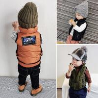 男童加厚马甲冬装儿童百搭坎肩上衣1- 5岁宝宝保暖字母贴布衣服潮