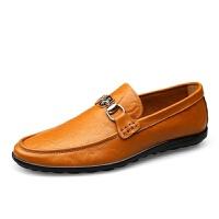 新品男鞋男士豆豆鞋纹英伦休闲皮鞋懒人一脚蹬鞋子