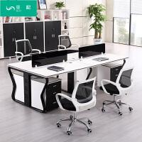办公家具办公桌简约现代职员办公桌四4人位组合屏风员工桌椅