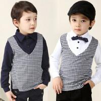 **儿童装男童长袖假两件打底衫2018春装新款韩版上衣