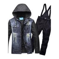 2018滑雪服男套装 户外保暖加厚防风防水单双板男士韩版牛仔滑雪衣裤