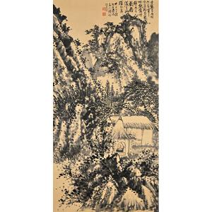 V827  石涛(款)《深山幽居图》(北京文物公司旧藏、原装旧裱)