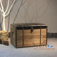 美式乡村复古收纳木箱做旧储物有盖装饰陈列箱储物箱带锁家居收纳