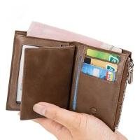 男士多功能复古钱包 男式驾驶证皮夹 新款真皮钱包男短款卡包