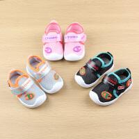 男宝宝凉鞋网鞋夏6-12月婴儿凉鞋软底防滑0-1-2岁女宝宝学步鞋春3