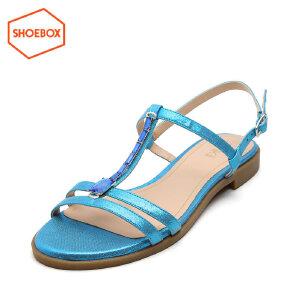 达芙妮旗下鞋柜水钻平底绑带防滑平跟女凉鞋