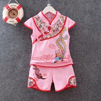 宝宝唐装女童夏装套装小孩夏天衣服1-2-3周岁小童百岁表演服