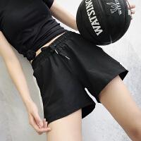 运动短裤女夏速干宽松跑步休闲高腰瑜伽裤防走光健身热裤